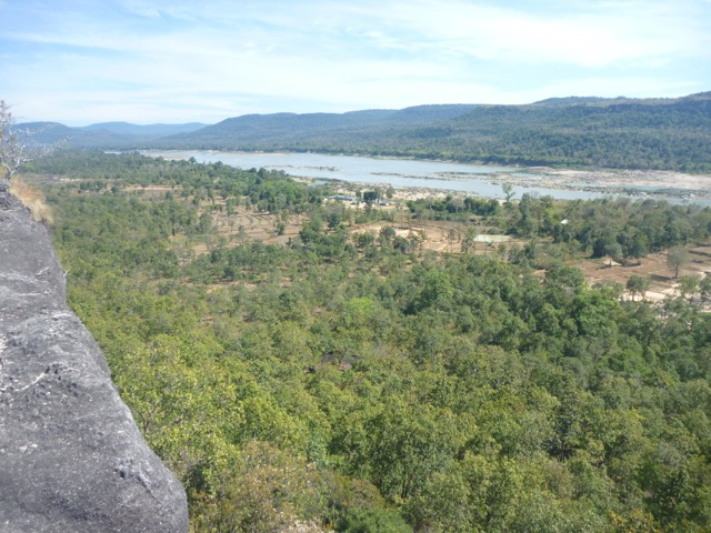 View from the top of the cliff of the Mekong river before beginning our walk. This particular point is the most eastern part of Thailand.