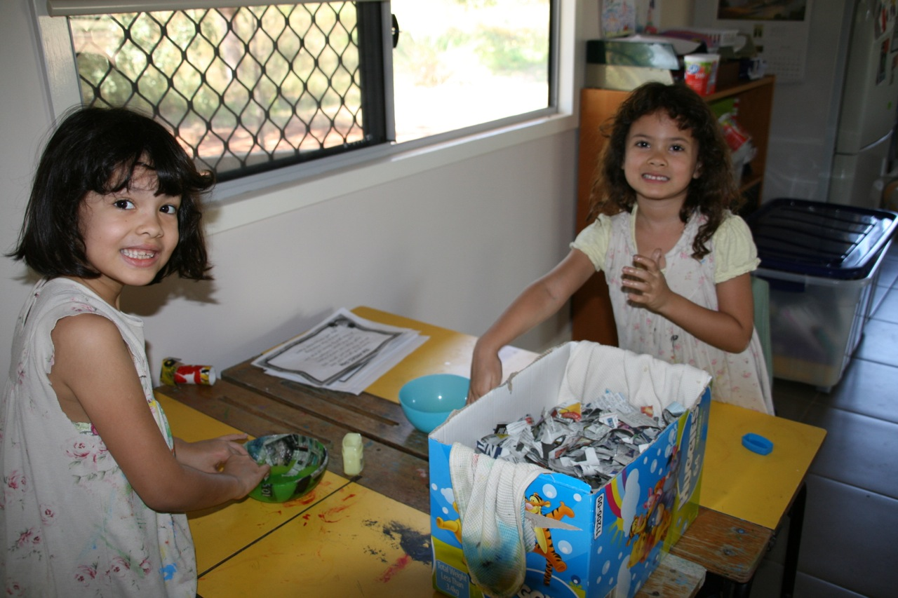 With Jessica's help the girls got stuck into lots of Art and Craft. Here they are with their first attempt at paper mache.