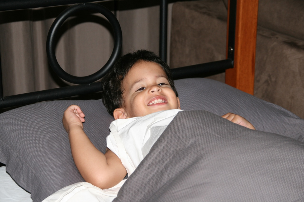 Jacob discovered that he loves big beds. He would always sneak into his cousin Noot's bed whenever he had the chance.