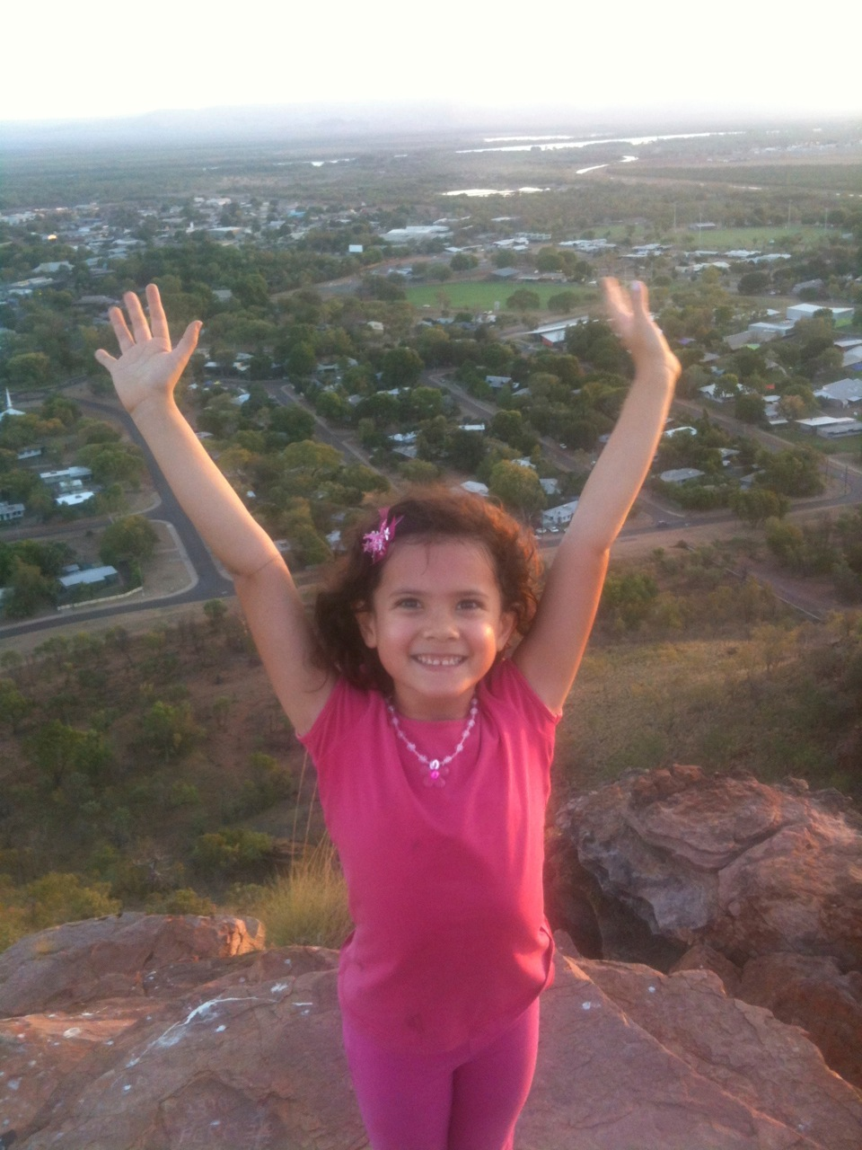 I promised Marisah when she turned six we would walk to the top of Kelly's Knob in Kununurra just like I did with Ariya. Here she is celebrating being on top of the world! A few weeks afterwards I managed to convince Seerung that we should all go as a family. Lugging Jacob up that hill was hard work but well worth it.