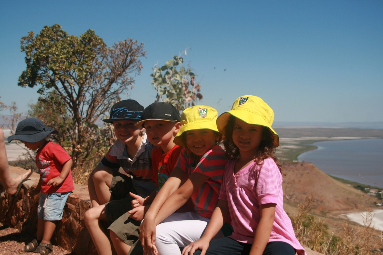 We did a day trip to Wyndham with my sister and family. Here are my girls with their cousins and Jacob in the background at the five rivers lookout.