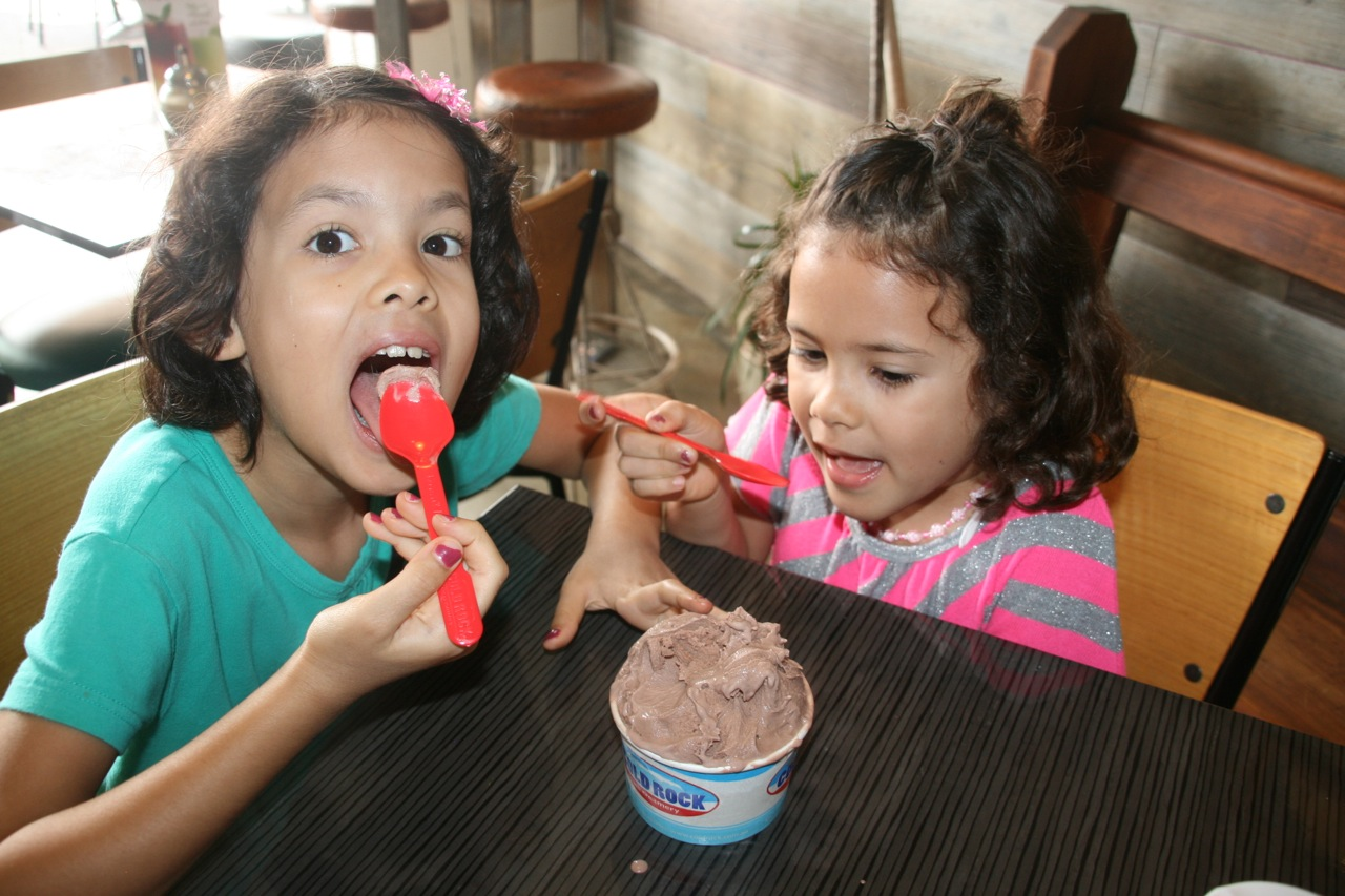 After all that walking (not really) we treated the girls to some Cold Rock ice cream.