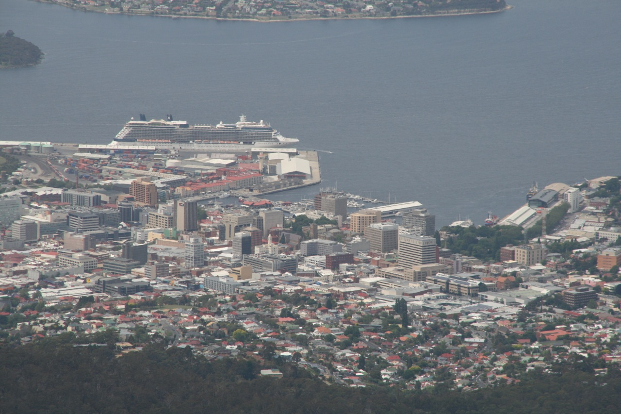 This is downtown Hobart. Check out the size of that cruise ship!