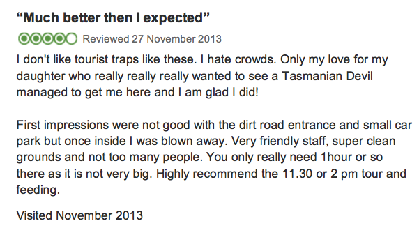 This was my review for Trip Advisor on the Bonorong Wildlife Sanctuary