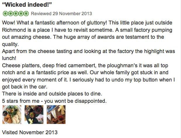 This is my review for Trip Advisor on the fabulous Wicked Cheese Factory