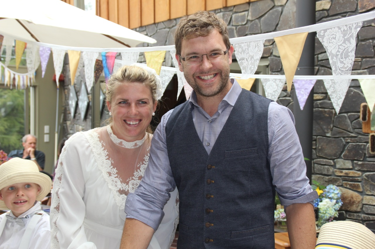 The happy couple looking much more relaxed then the previous wedding a week ago!