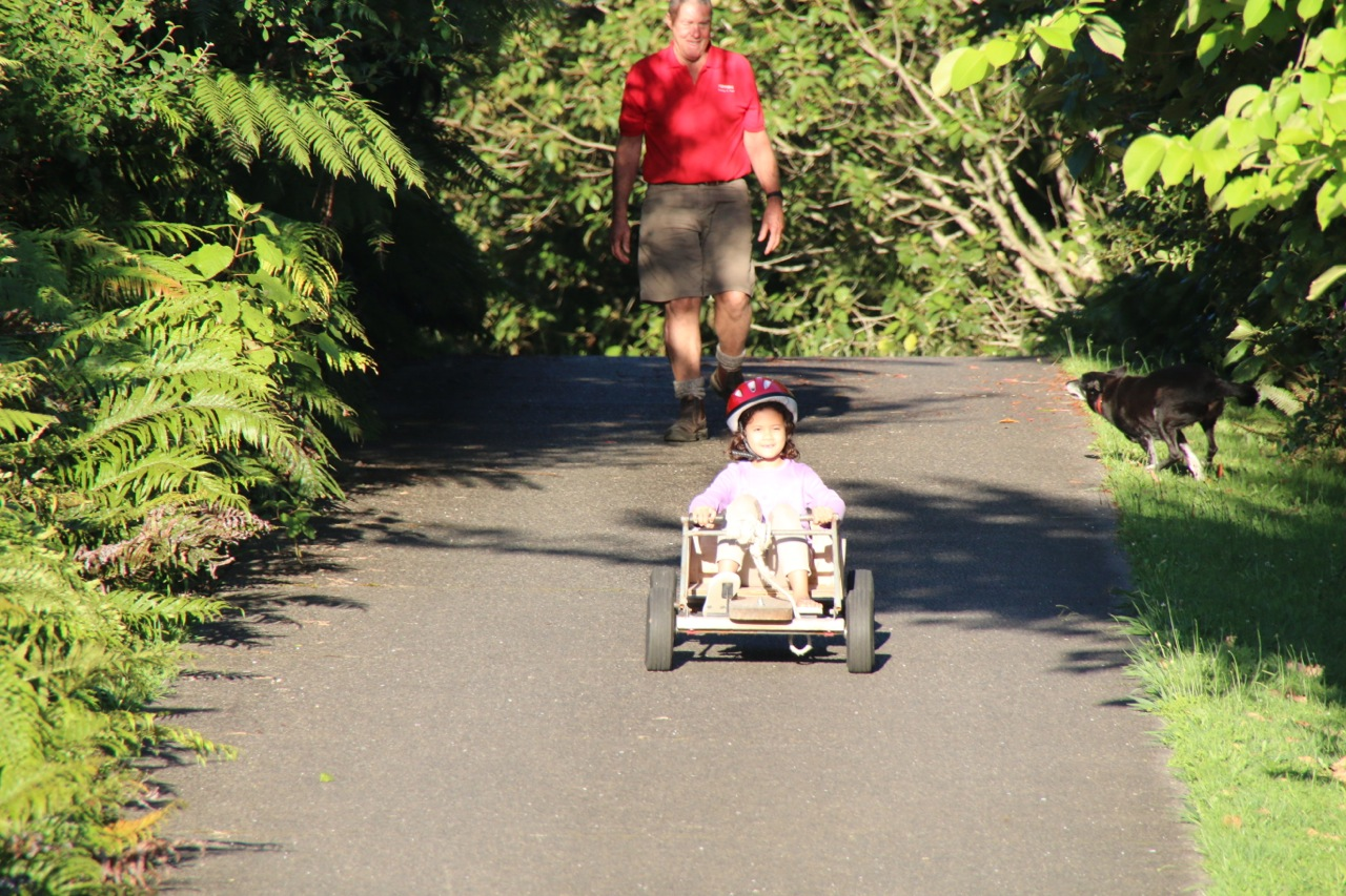 No trip to Grumpy's house is complete without a few runs down the driveway  on the go cart.