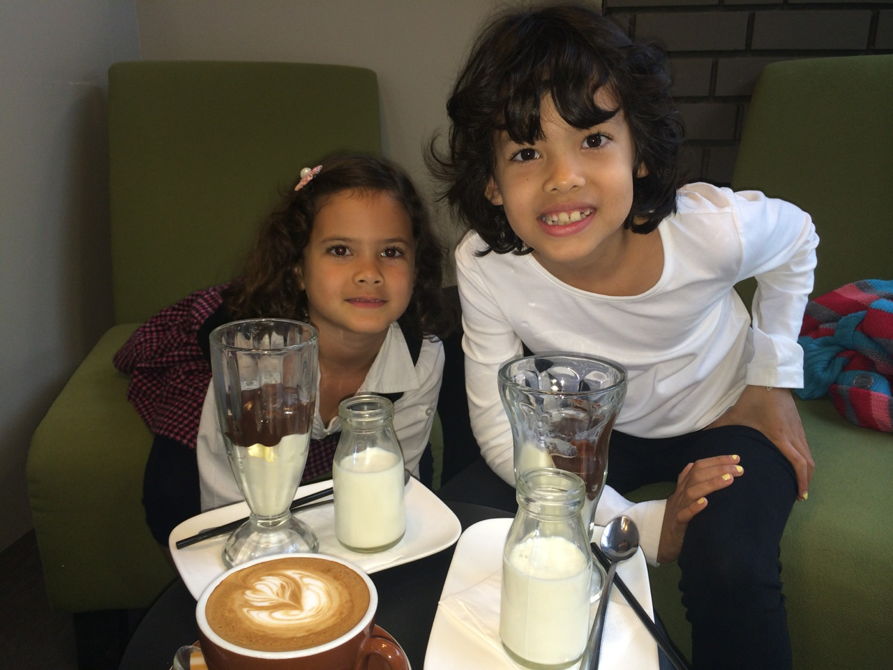 Here are the girls enjoying at Chocolate Milkshake while I have a Latte at the The Terrace, Number 19 Picadilly Arcade in Tauranga.
