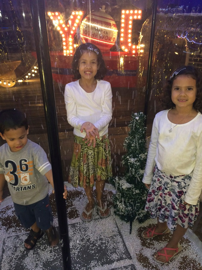 The commercial side of Christmas stretches for many months in Bangkok so the kids were delighted to find some fake snow to play in, even though it was January.