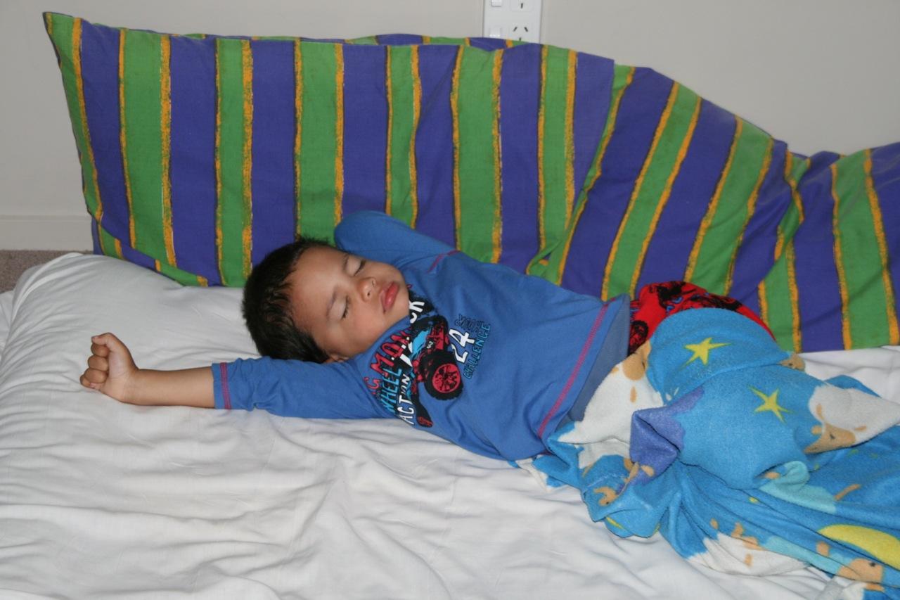 Kids asleep on Christmas morning