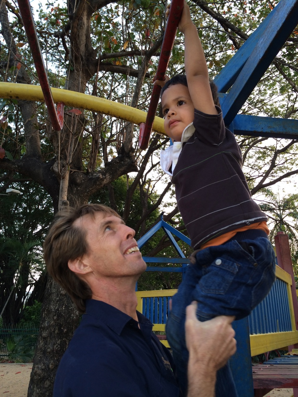 Jacob hanging around with his Uncle Paul.