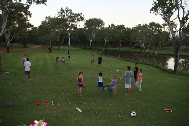 Time for games in the front yard around the lake. We were all pretty pooped by then end of the day!