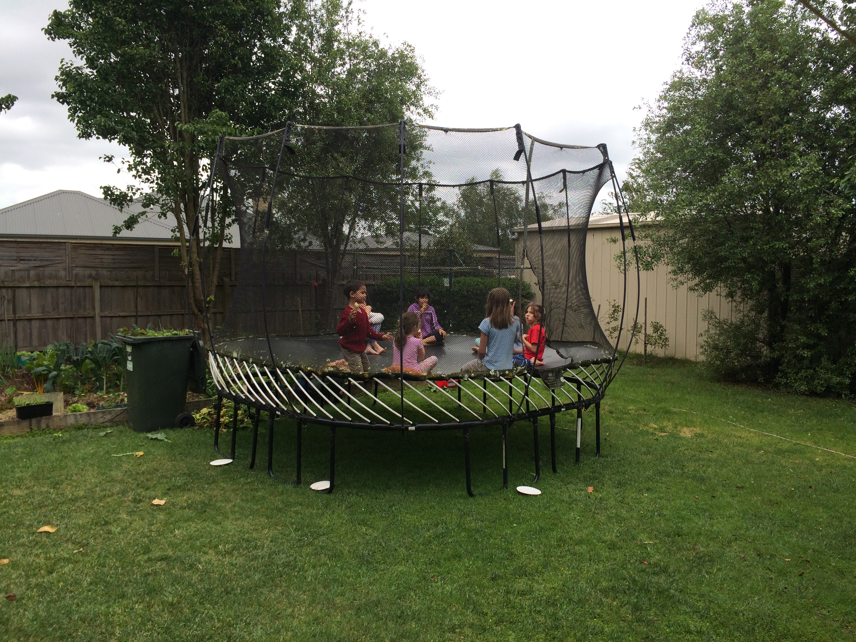 The trampoline makes a great table - Thai style!